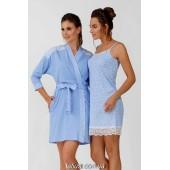 Комплект халат и ночная сорочка Ellen, Blue leaves