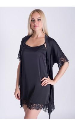 Комплект халат и ночная сорочка MiaNaGreen К031н,Черный