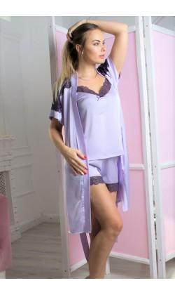 Комплект пижама и халат женский MiaNaGreen К1007п,Лаванда