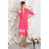 Комплект халат и ночная сорочка из хлопка MiaNaGreen К912н,Розовый