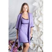 Комплект халат и ночная сорочка вискоза MiaNaGreen К916н,Сиреневый