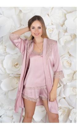 Комплект пижама и халат женский MiaNaGreen К921п,Мокка