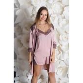 Комплект пижама и халат женский MiaNaGreen К925п,Мокка