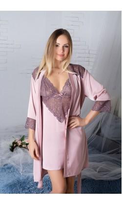 Комплект халат и ночная сорочка MiaNaGreen К926н,Мокка