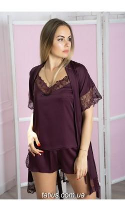 Комплект пижама и халат женский MiaNaGreen К503п,Сливовый