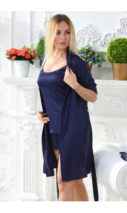 Комплект пижама и халат женский MiaNaGreen Кс09п,Синий