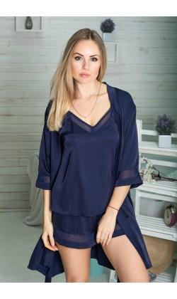 Комплект пижама и халат женский MiaNaGreen К1090п,Синий