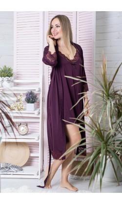 Комплект халат и ночная сорочка MiaNaGreen К501н,Сливовый