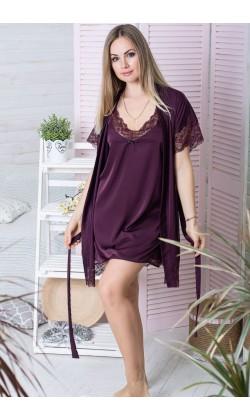 Комплект халат и ночная сорочка MiaNaGreen К502н,Сливовый