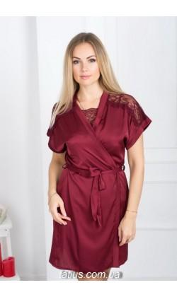 Комплект халат и ночная сорочка MiaNaGreen К511н,Бордовый