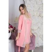 Комплект халат и ночная сорочка из хлопка MiaNaGreen К710н,Персиковый