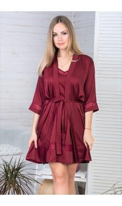 Комплект пижама и халат женский MiaNaGreen Кб1090п,Бордовый