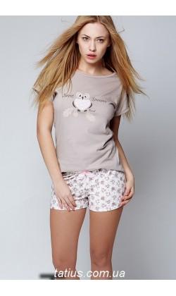 Пижама женская с шортами Sensis Small Owl