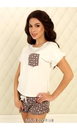 Пижама женская с шортами Violet delux П-М-75,Сердечки