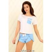 Пижама женская с шортами Violet delux П-М-79,Тучки