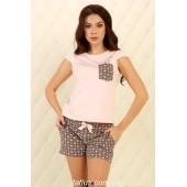 Пижама женская с шортами Violet delux П-М-81,Сердечки