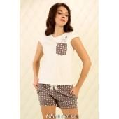 Пижама женская с шортами Violet delux П-М-81,Сердечки Айвори