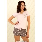Пижама женская с шортами Violet delux П-М-83,Сердечки