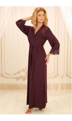 Халат женский из вискозы Violet delux Х-М-21, Сливовое вино