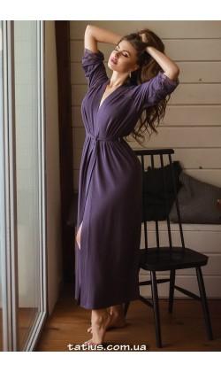 Халат женский из вискозы Violet delux Х-М-21,Лавандовый туман