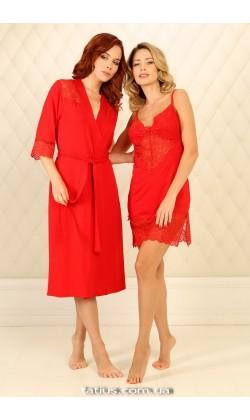 Комплект халат и ночная сорочка Violet delux,Carmine М-33/М-71
