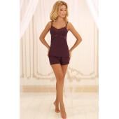 Пижама женская с шортами Violet delux П-М-45, Сливовое вино