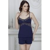 Пижама женская с шортами Violet delux П-М-45, Синий