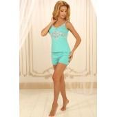 Пижама женская с шортами Violet delux П-М-52, Мята