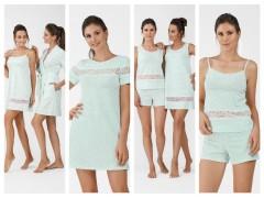 Пижамы, сорочки, халаты от ТМ ELLEN коллекции весна-лето 2019 «Цветочная нежность» Мята