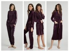Коллекция домашних велюровых костюмов и халатов в сливовом цвете от ТМ ELLEN