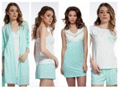 Новая коллекция лето 2018 от ТМ ELLEN сорочки, пижамы, халат «Мятный горох»