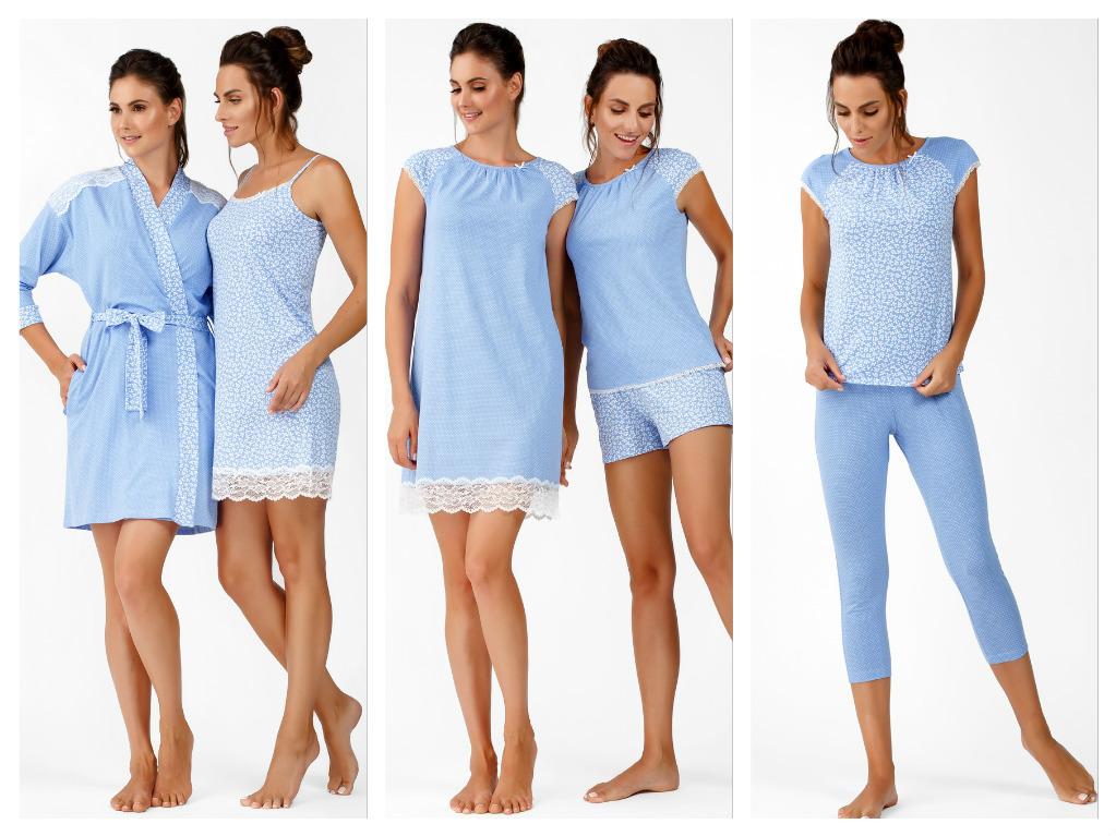 ec2dee3531b7 В этом Вам поможет ТМ Ellen со своей яркой коллекцией насыщенного голубого  цвета с лиственным рисунком. Коллекция представлена халатом, ночными  рубашками, ...